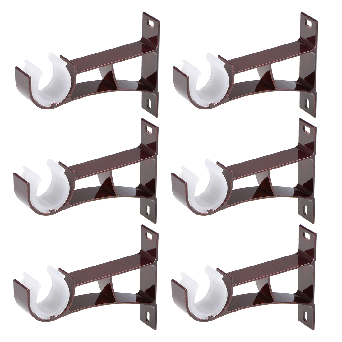 Curtain Rod Bracket Single Holder for 24mm Rod, 108 x 78 x 19mm Dark Red 6 Sets