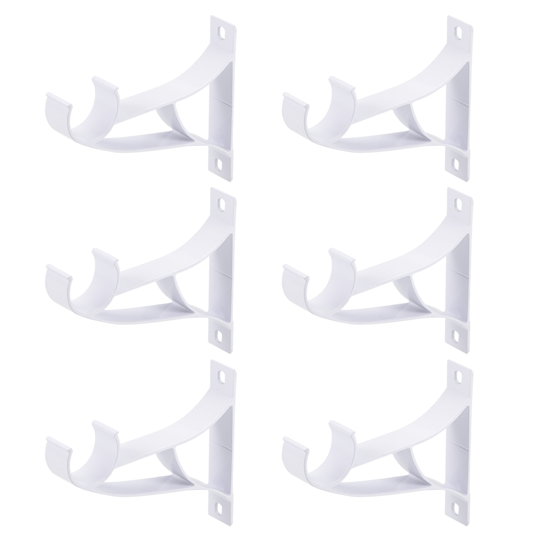 Curtain Rod Pole Bracket Single Holder for 25mm Rod, 94 x 80 x 16mm White 6 Pcs