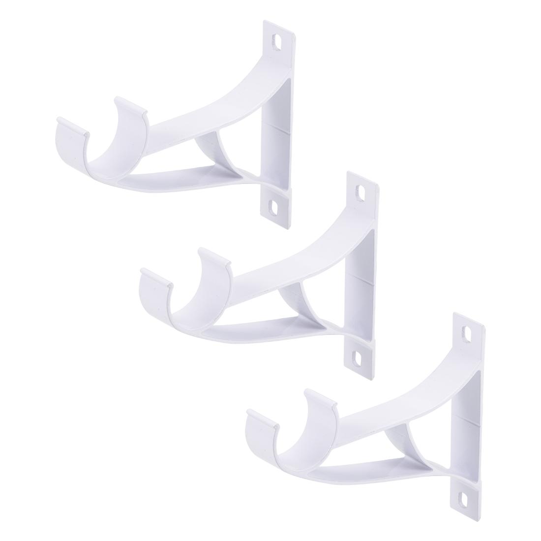 Curtain Rod Bracket Single Holder for 25mm Rod 94 x 80 x 16mm White 3 Pcs