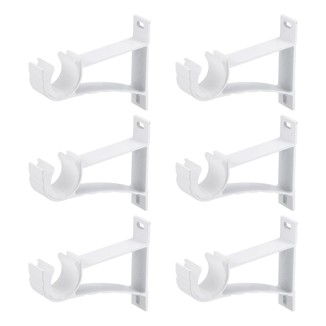 Curtain Rod Bracket Single Holder for 24mm Rod 108 x 82 x 19mm Milky White 6Sets