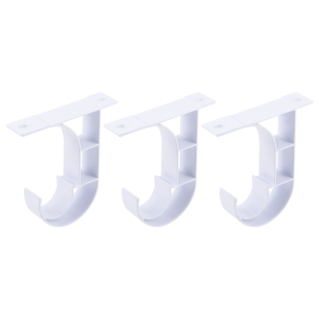 Curtain Rod Bracket Single Holder for 25mm Drapery Rod 80 x 75 x 18mm White 3Pcs