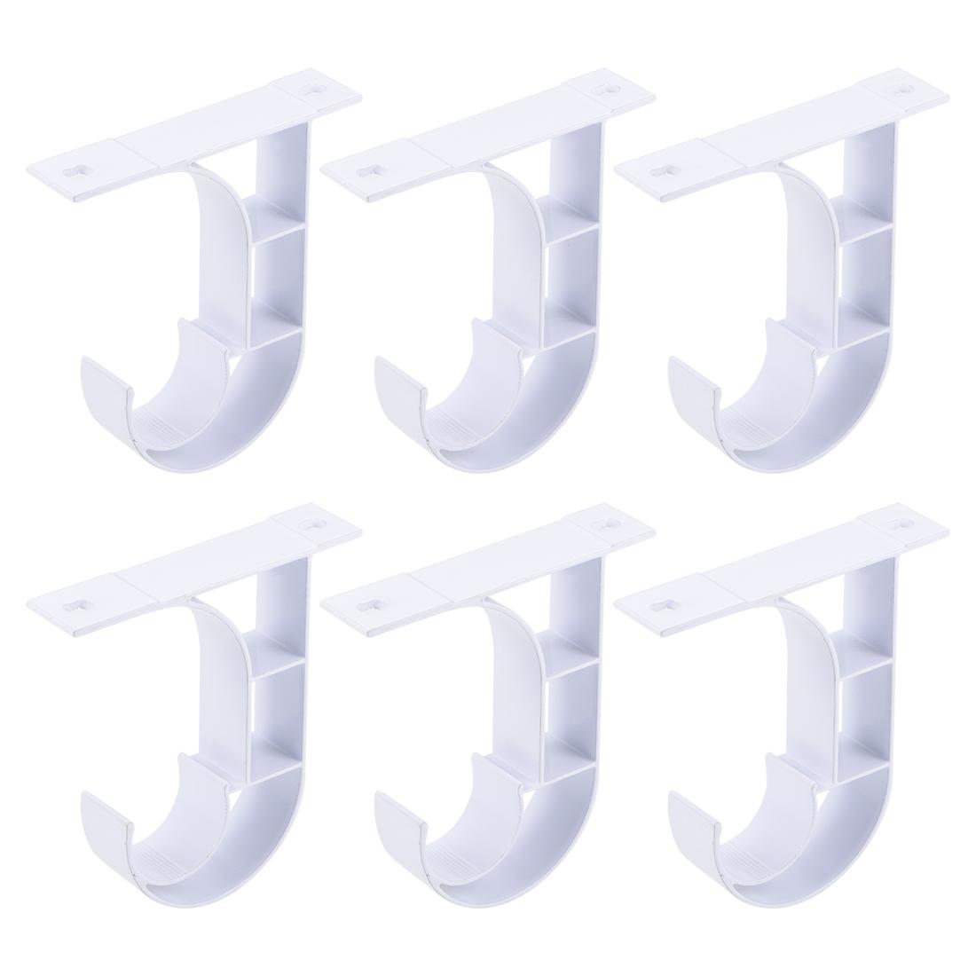 Curtain Rod Bracket Single Holder for 25mm Drapery Rod 80 x 75 x 18mm White 6Set