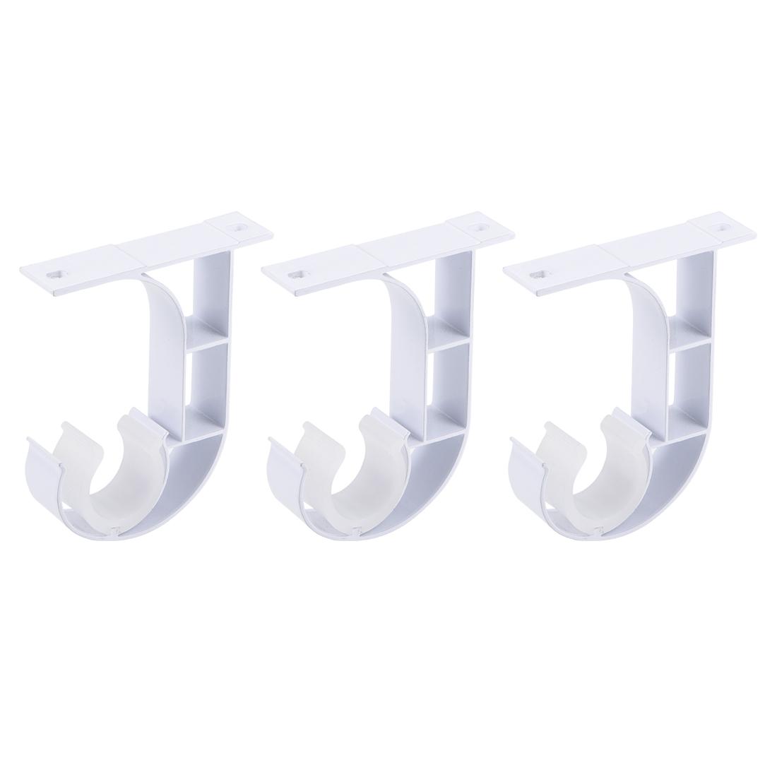 Curtain Rod Bracket Single Holder for 24mm Drapery Rod 90 x 75 x 19mm White 3Pcs