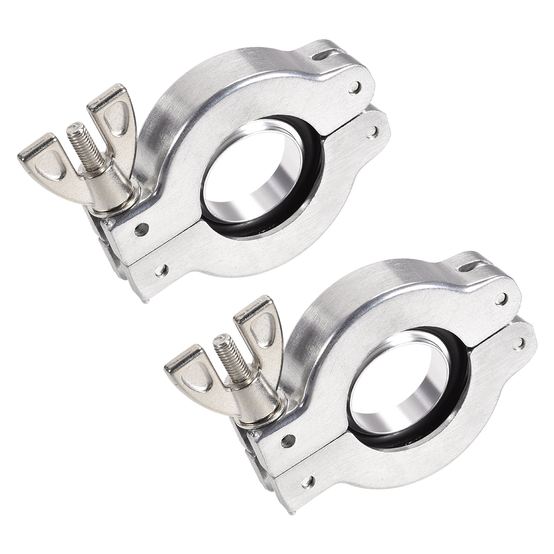 2 Pcs Sanitary -Clamp 53mm x 31mm KF25 Clamp Wing Nut w Center Ring