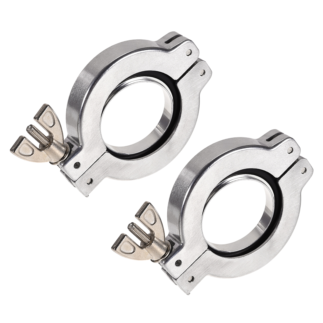 2 Pcs Sanitary -Clamp 68mm x 46mm KF40 Clamp Wing Nut w Center Ring