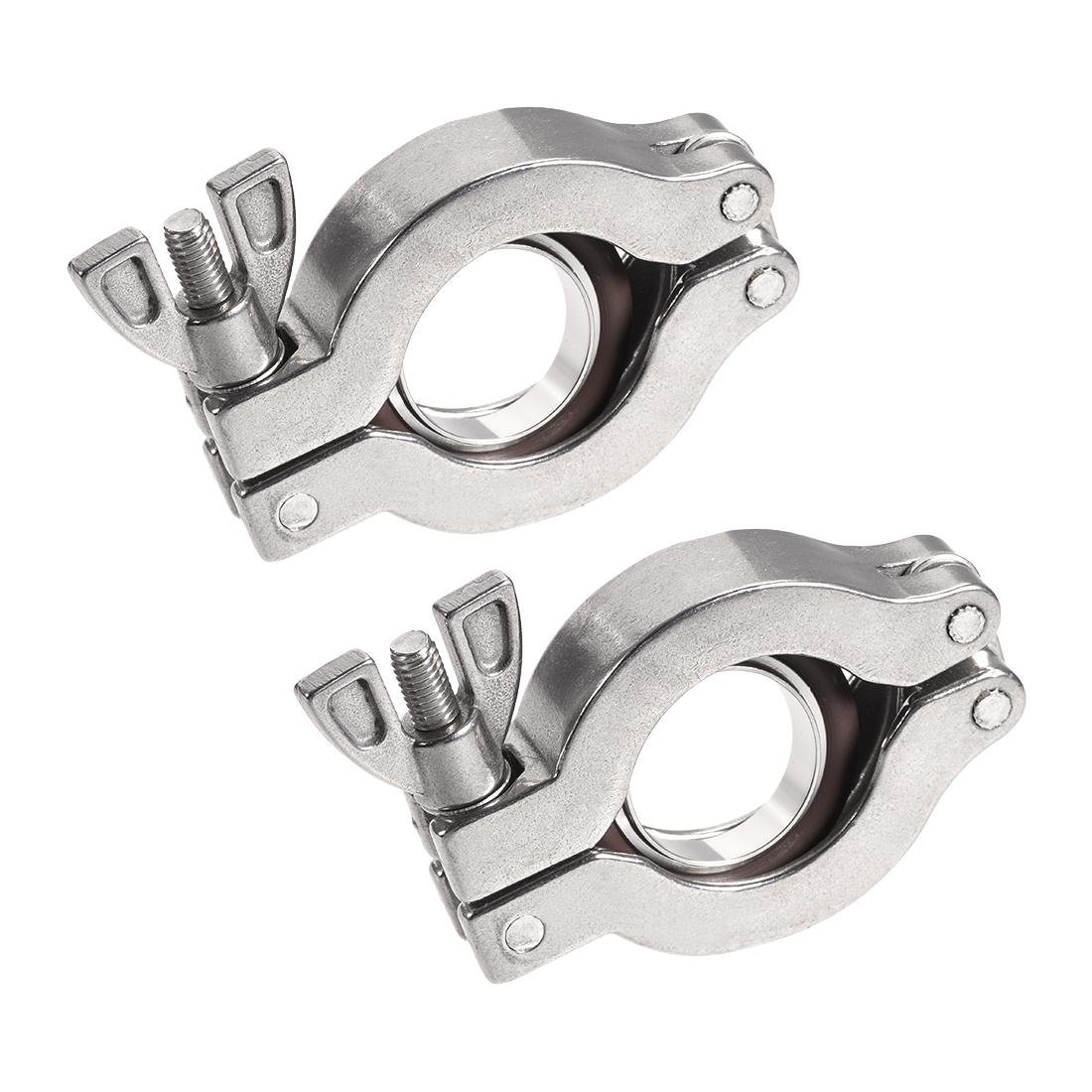 Sanitary -Clamp 53mm x 30.5mm KF25 Clamp Wing Nut with Center Ring 2 Pcs