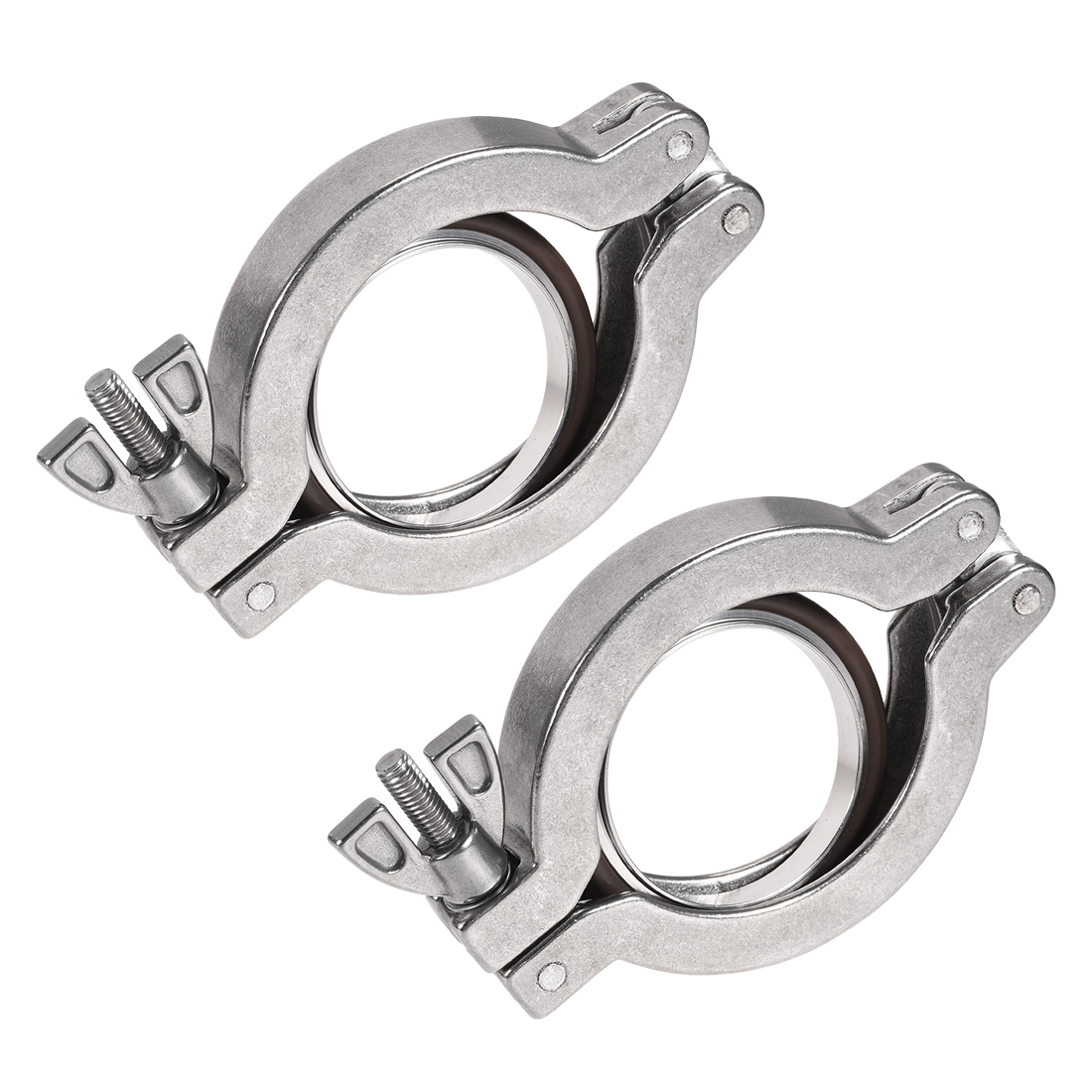 Sanitary -Clamp 68mm x 47mm KF40 Clamp Wing Nut with Center Ring 2 Pcs