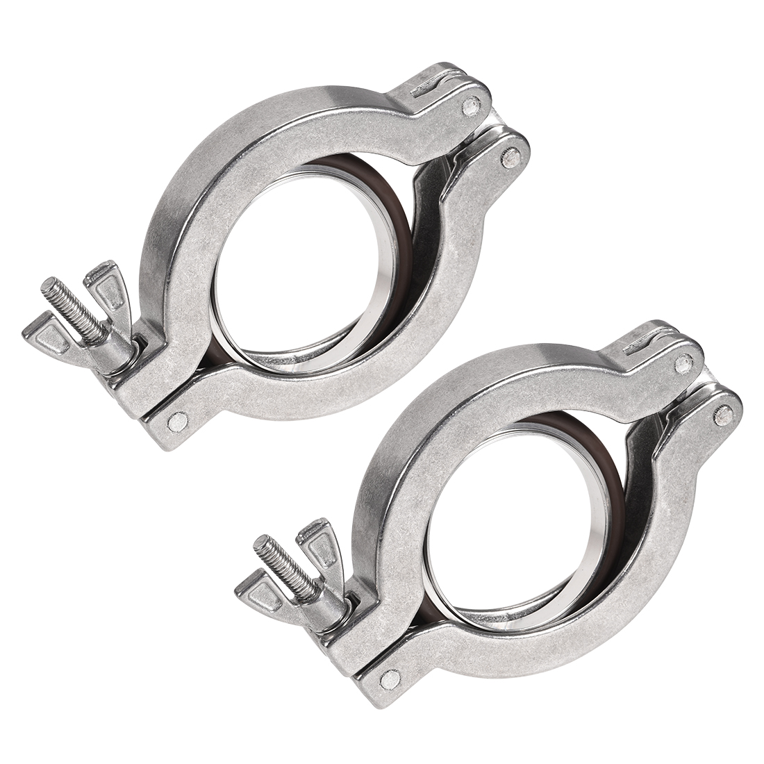 Sanitary -Clamp 90mm x 57mm KF50 Clamp Wing Nut with Center Ring 2 Pcs