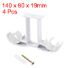 Curtain Rod Bracket Double Thicken for 18mm Rod, 140 x 80 x 19mm White 4 Pcs
