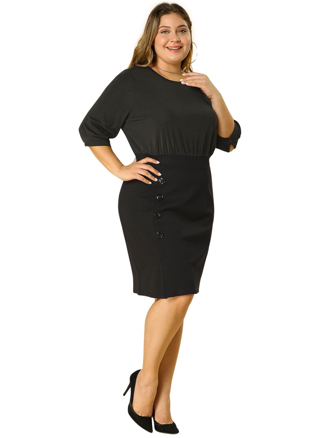 Women's Plus Size Office Work Bodycon Button Pencil Dress Black 2X