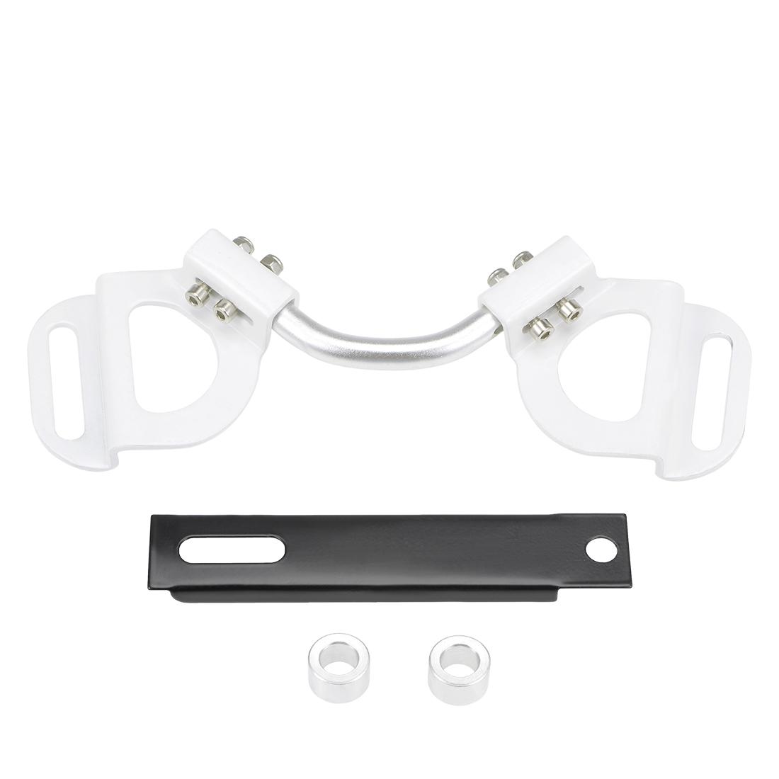 Car Battery Hold Down Bracket Aluminum Adjustable Holder, White