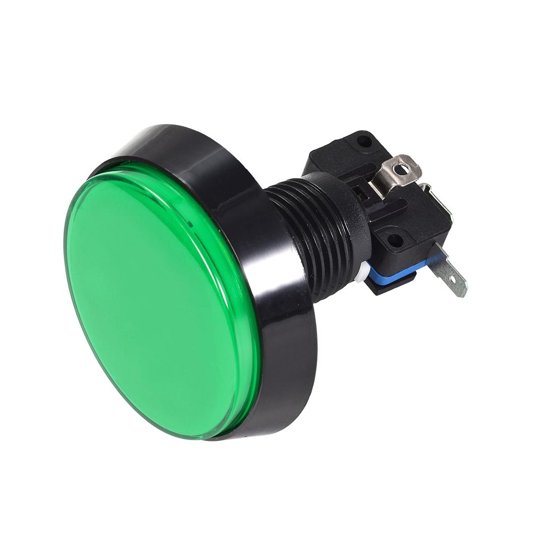 Game Push Button 60mm Round 12V LED Illuminated Push Button Switch Green 1pcs