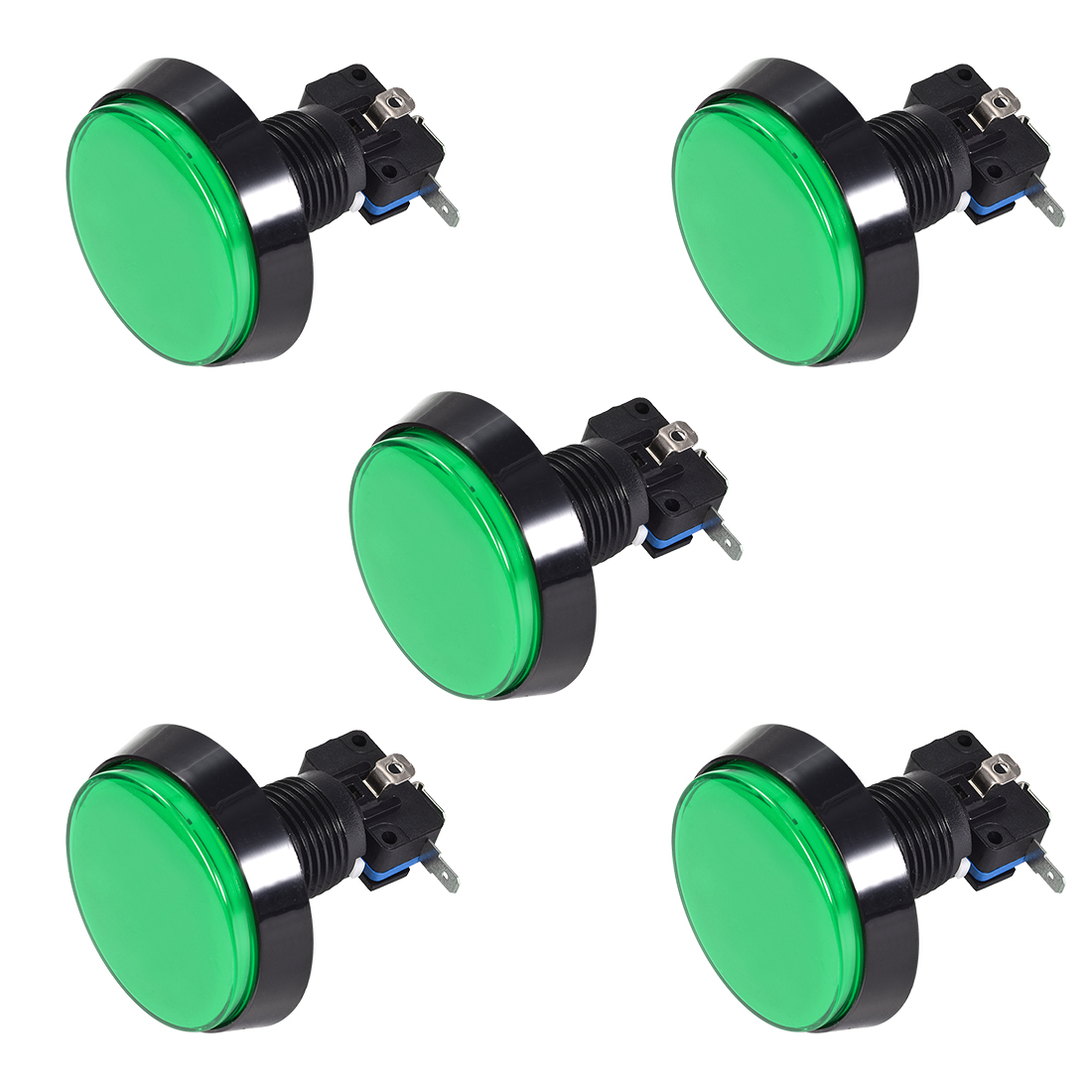Game Push Button 60mm Round 12V LED Illuminated Push Button Switch Green 5pcs