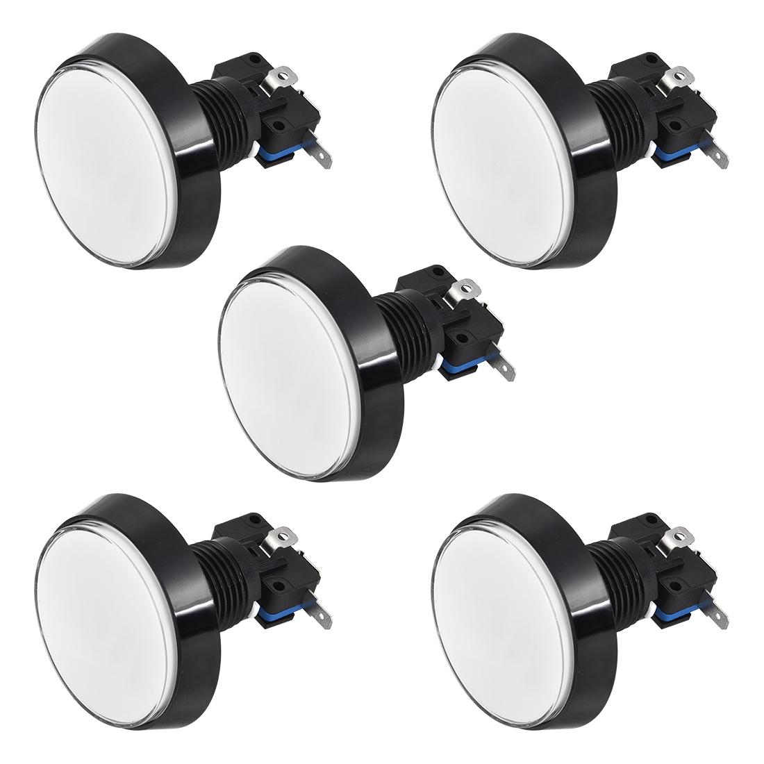 Game Push Button 60mm Round 12V LED Illuminated Push Button Switch White 5pcs