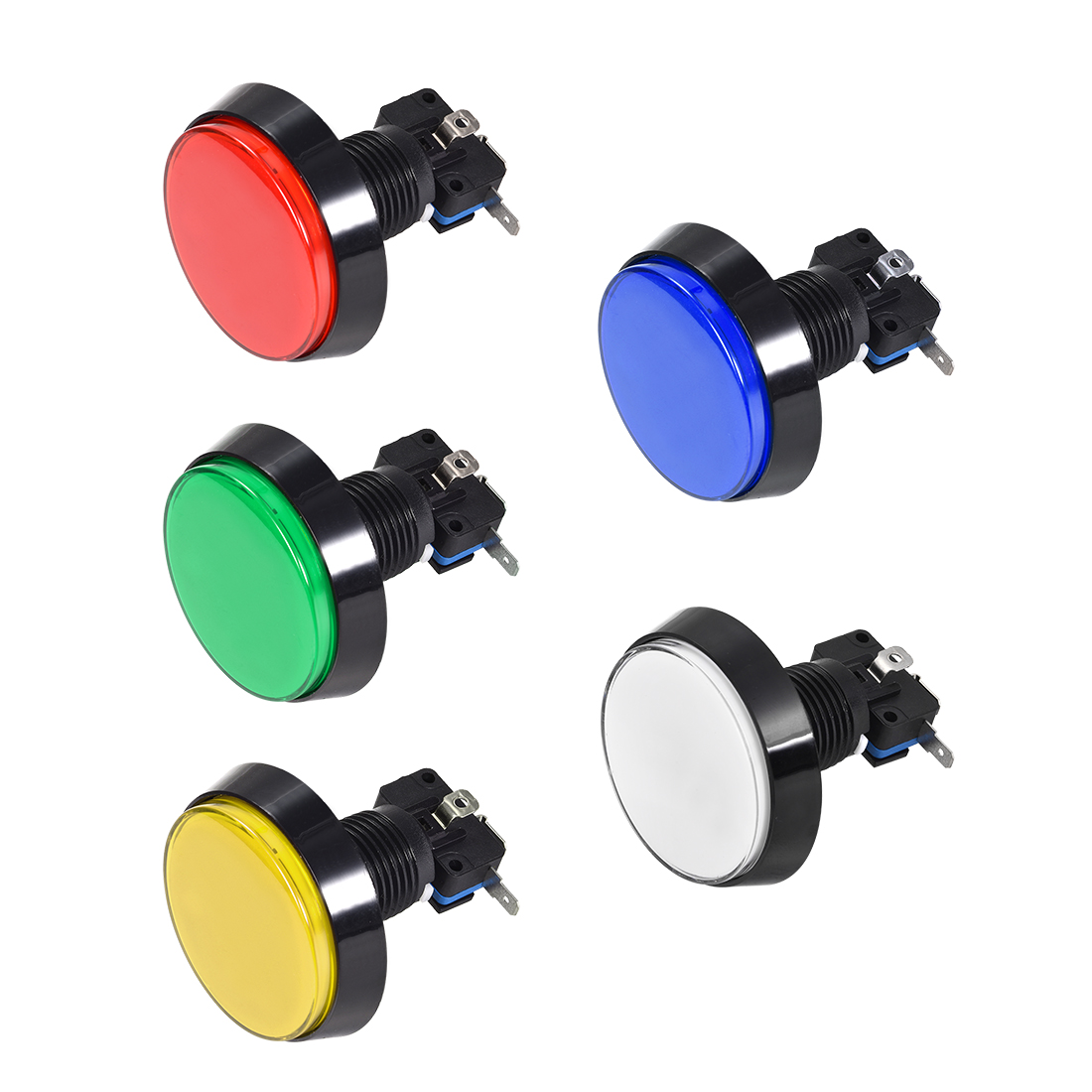 Game Push Button 60mm Round 12V LED Illuminated Push Button Switch 5pcs