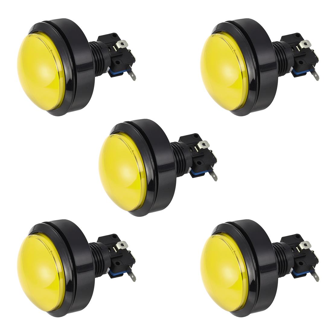 Game Push Button 62mm Round 12V LED Illuminated Push Button Switch Yellow 5pcs
