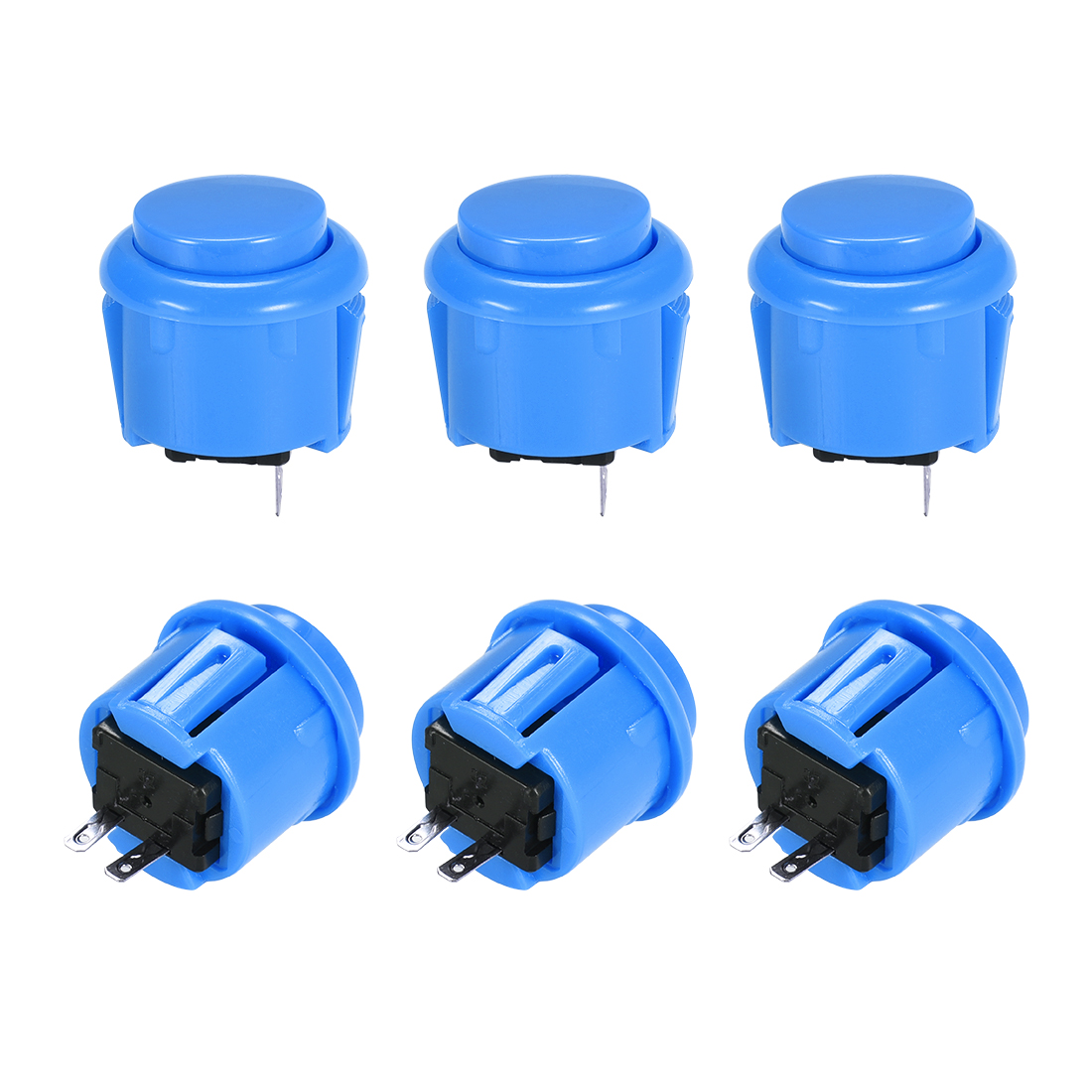 23mm Momentary Game Push Button Switch for Arcade Video Games Blue 6pcs