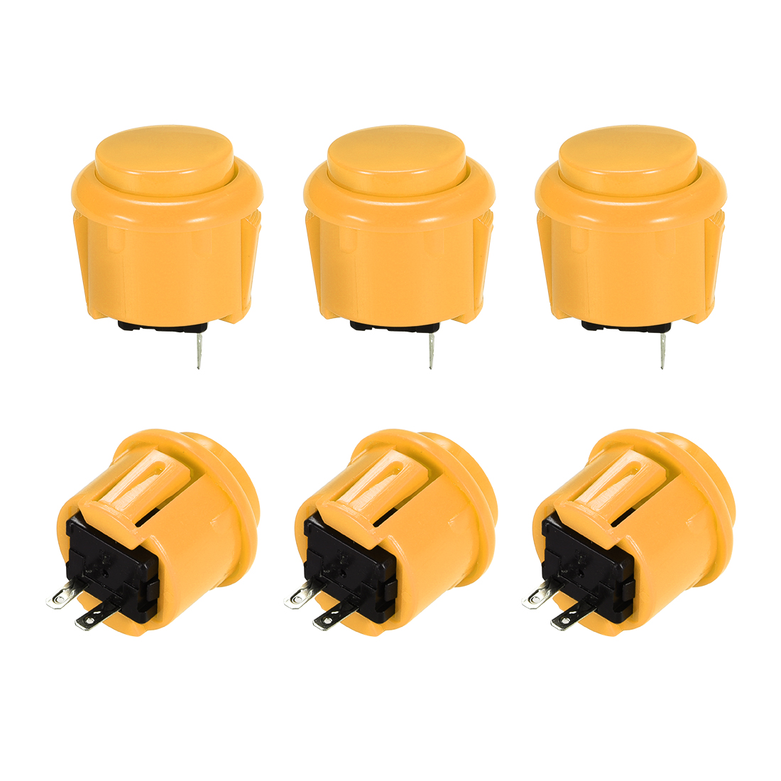 23mm Momentary Game Push Button Switch for Arcade Video Games Yellow 6pcs