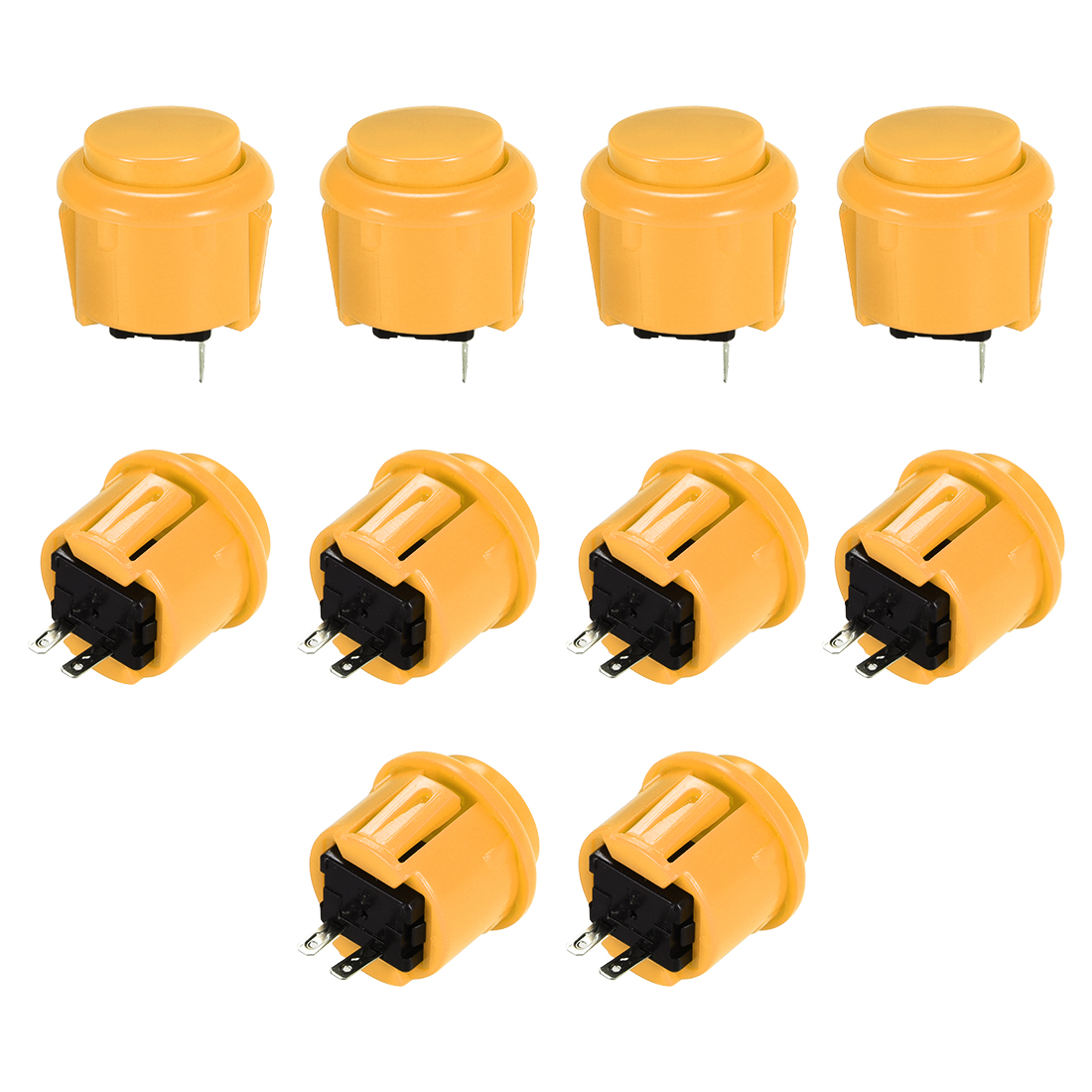 23mm Momentary Game Push Button Switch for Arcade Video Games Yellow 10pcs