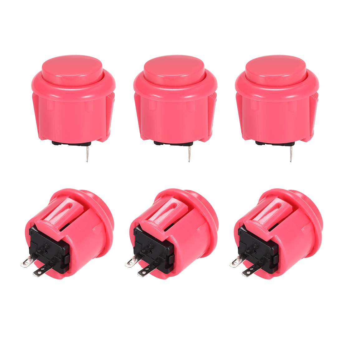 23mm Momentary Game Push Button Switch for Arcade Video Games Pink 6pcs