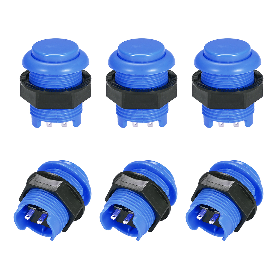 M28 Momentary Game Push Button Switch for Arcade Video Games Blue 6pcs