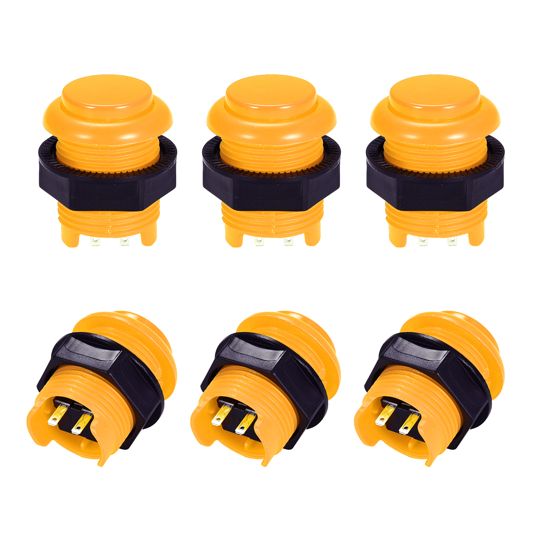 M28 Momentary Game Push Button Switch for Arcade Video Games Yellow 6pcs