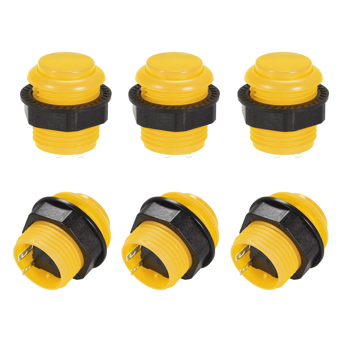 23.6mm Momentary Game Push Button Switch for Arcade Video Games Yellow 4pcs