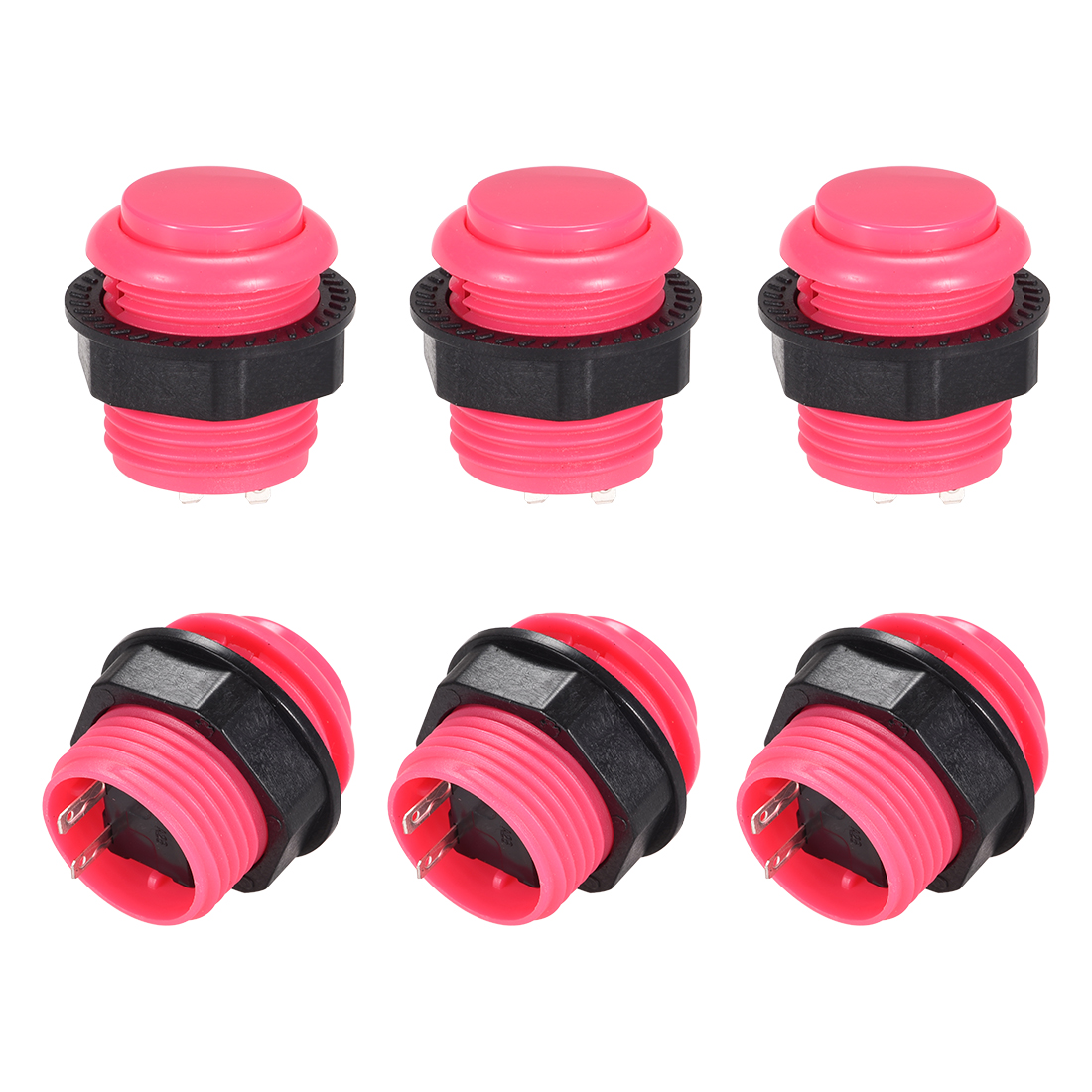 23.6mm Momentary Game Push Button Switch for Arcade Video Games Pink 4pcs