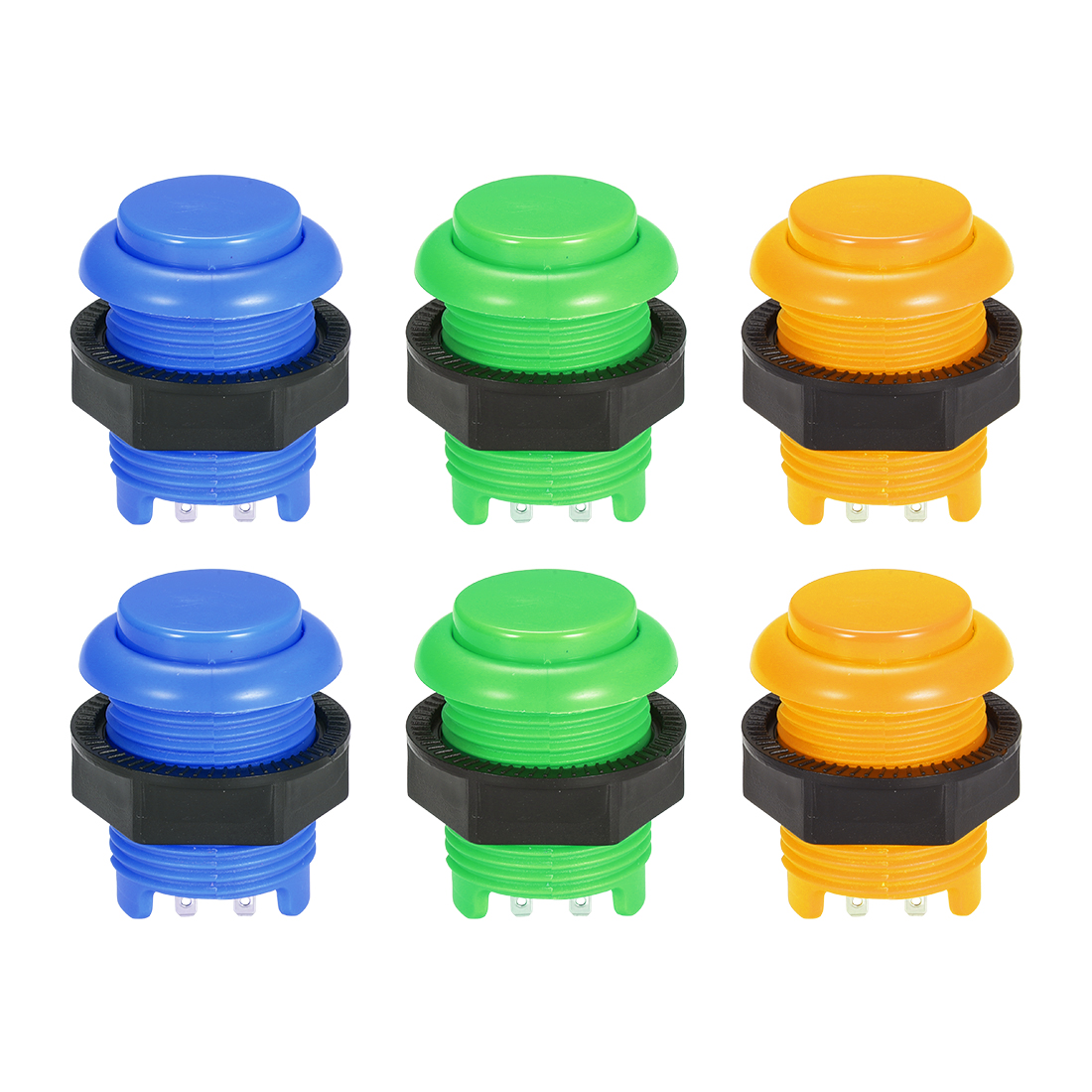 26.6mm Mounting Hole Momentary Game Push Button Switch 3 Colors 6pcs
