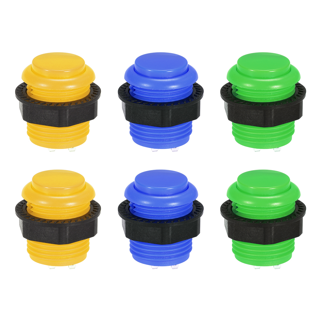 23.6mm Mounting Hole Momentary Game Push Button Switch 3 Colors 6pcs