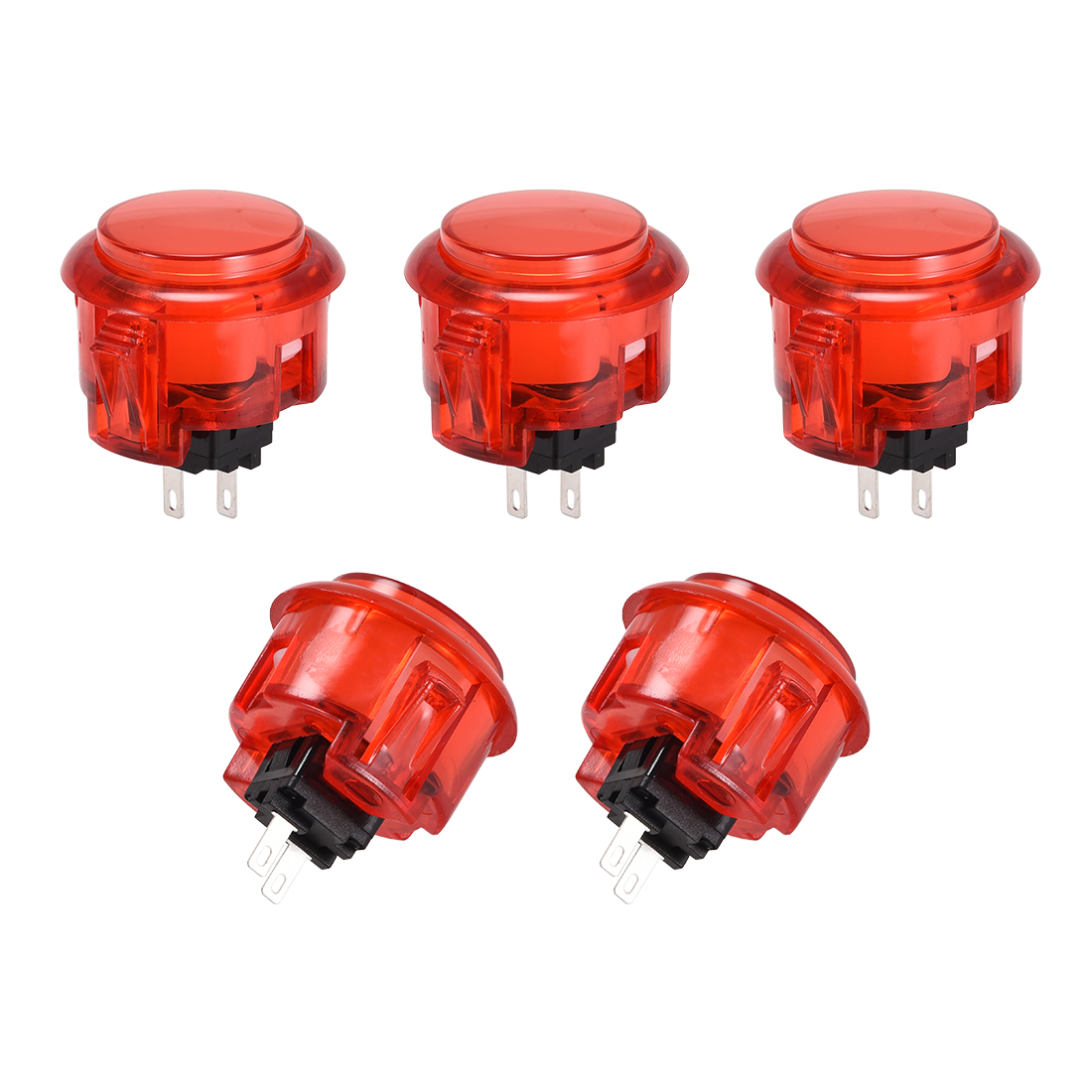 30mm Mounting Momentary Game Push Button for Video Games Red 5pcs