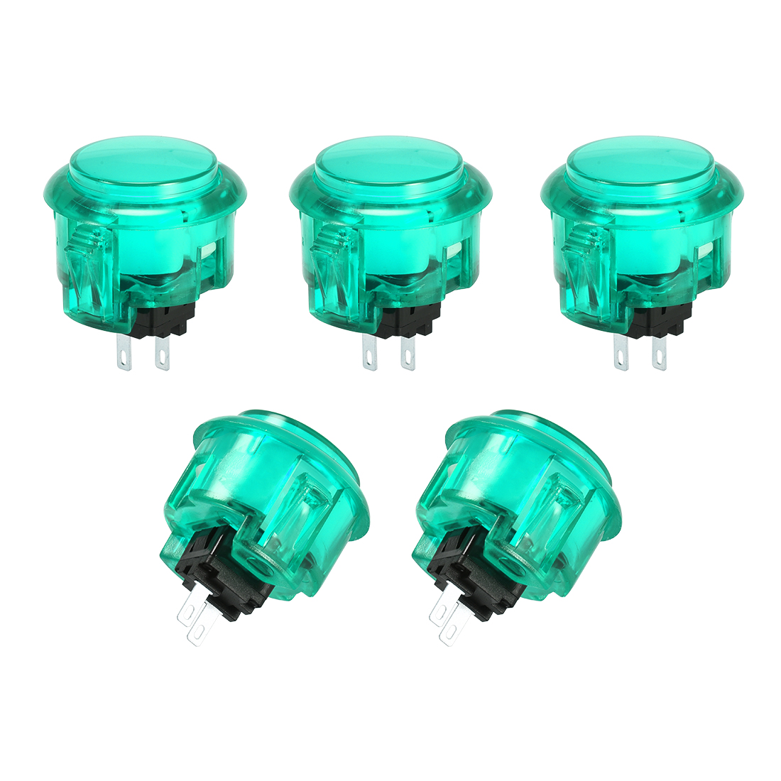 30mm Mounting Momentary Game Push Button for Video Games Green 5pcs