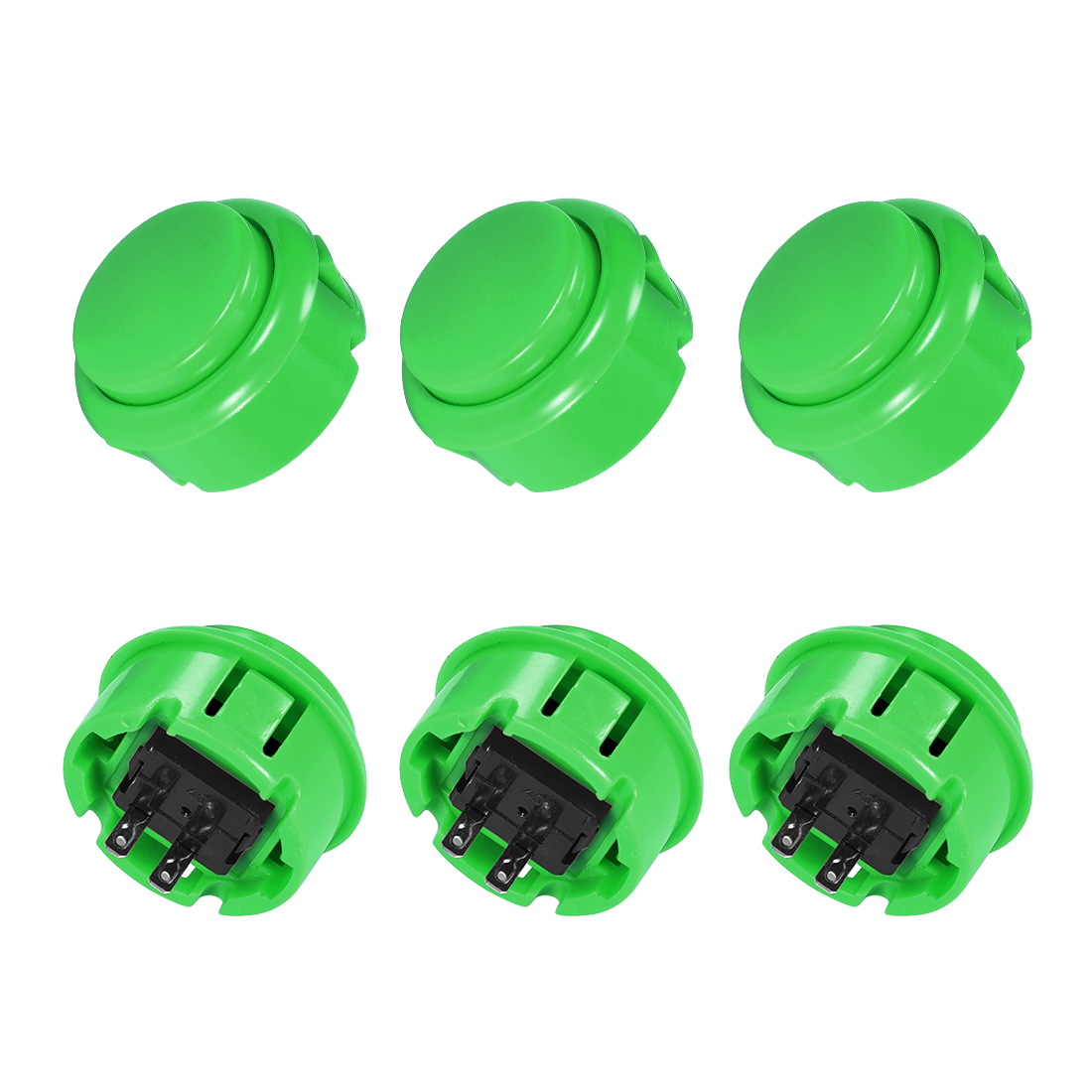 30mm Mounting Momentary Game Push Button Round for Video Games Green 5pcs