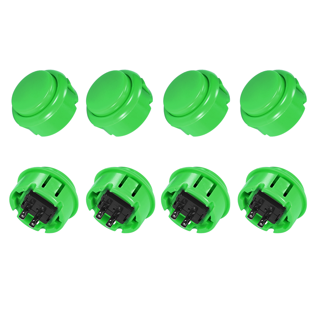 30mm Mounting Momentary Game Push Button Round for Video Games Green 8pcs