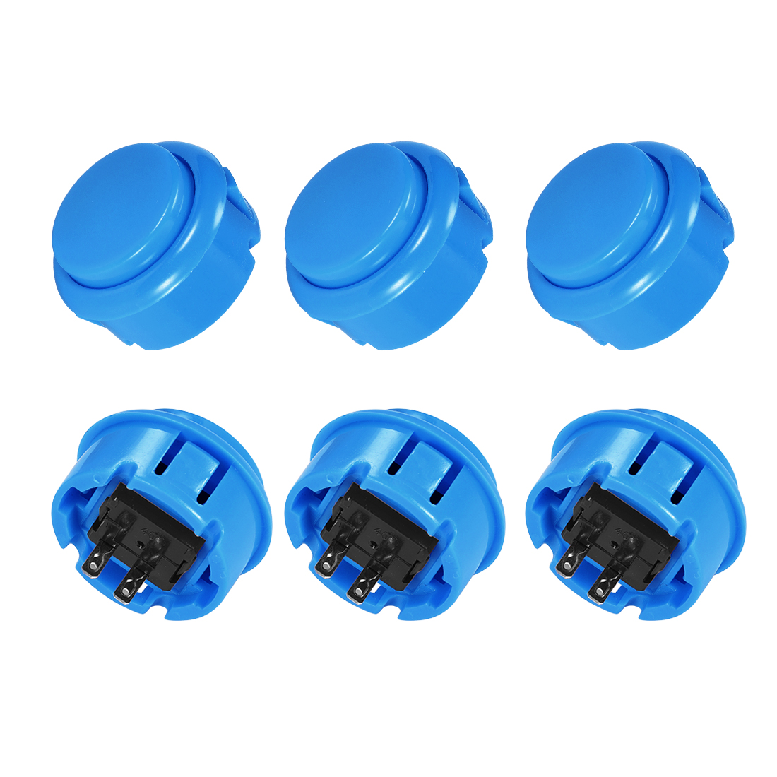 30mm Mounting Momentary Game Push Button Round for Video Games Blue 6pcs