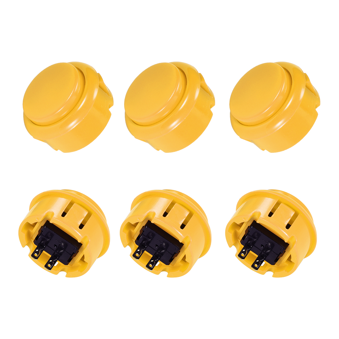 30mm Mounting Momentary Game Push Button Round for Video Games Yellow 6pcs