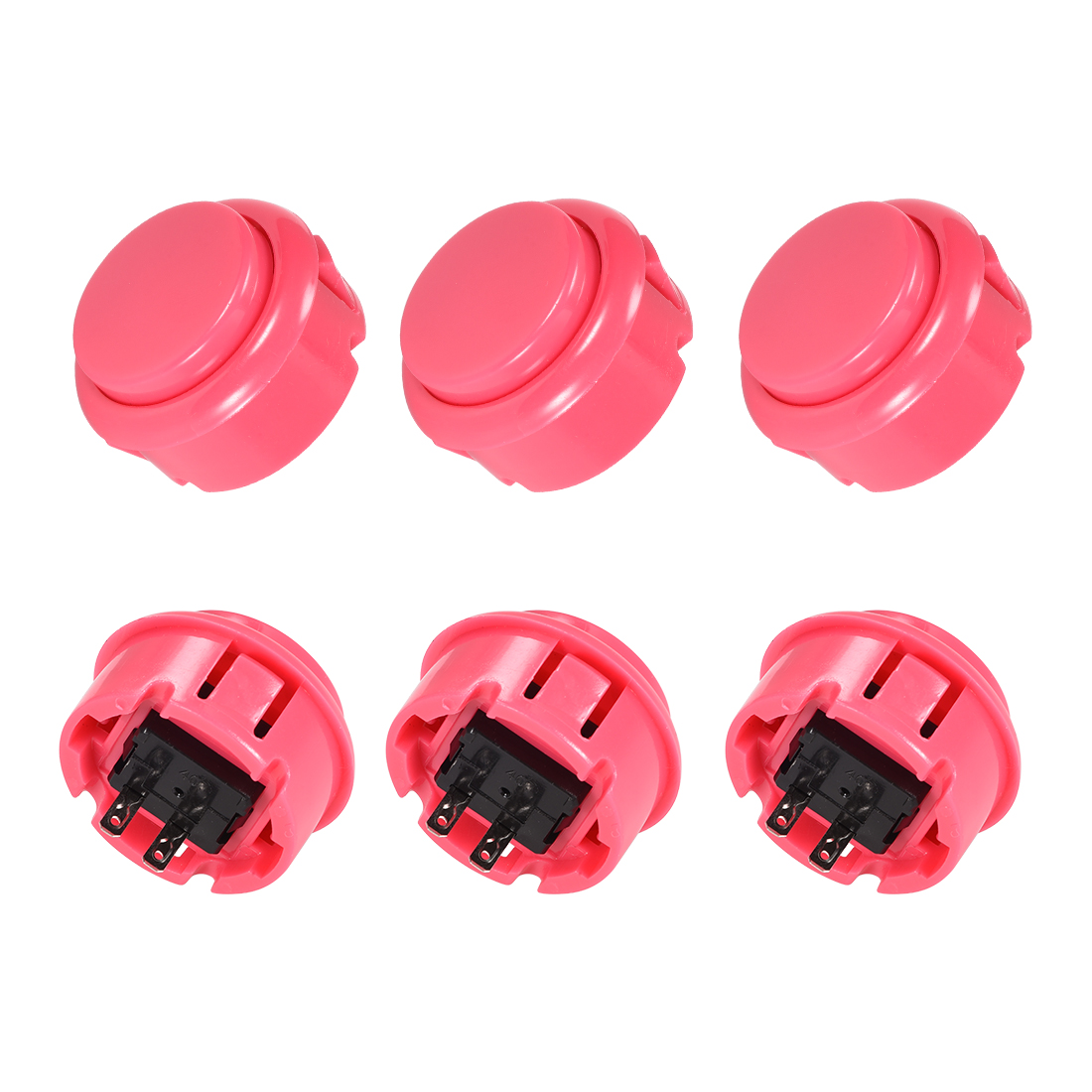 30mm Mounting Momentary Game Push Button Round for Video Games Pink 6pcs