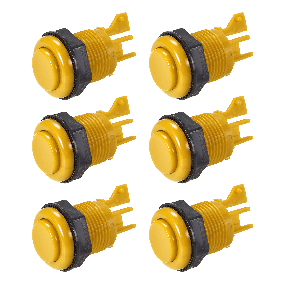 27mm Mounting Game Push Button Switch Shell for Arcade Video Games Yellow 6pcs
