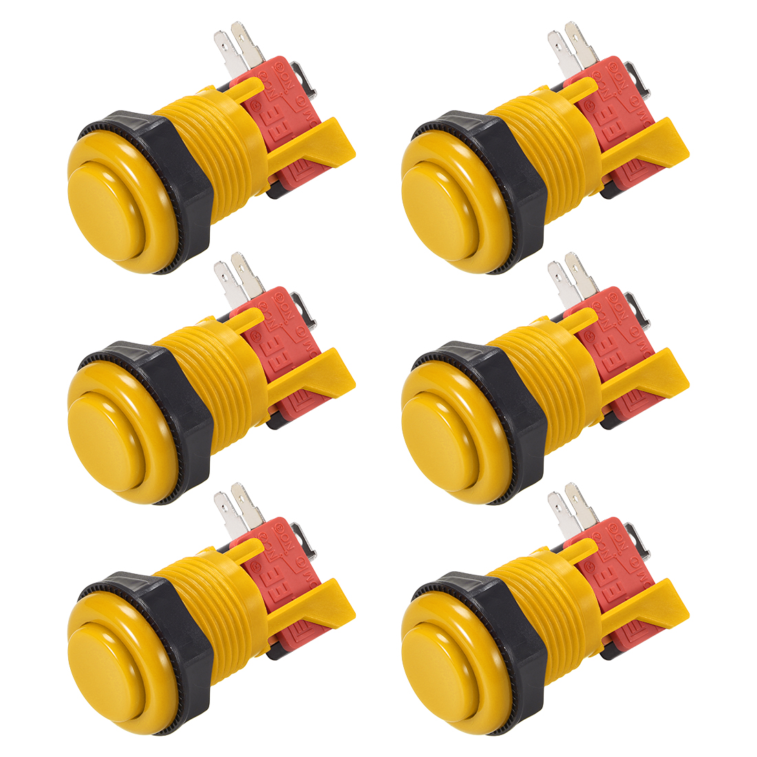 27mm Mounting Momentary Game Push Button Switch with Micro switch Yellow 6pcs