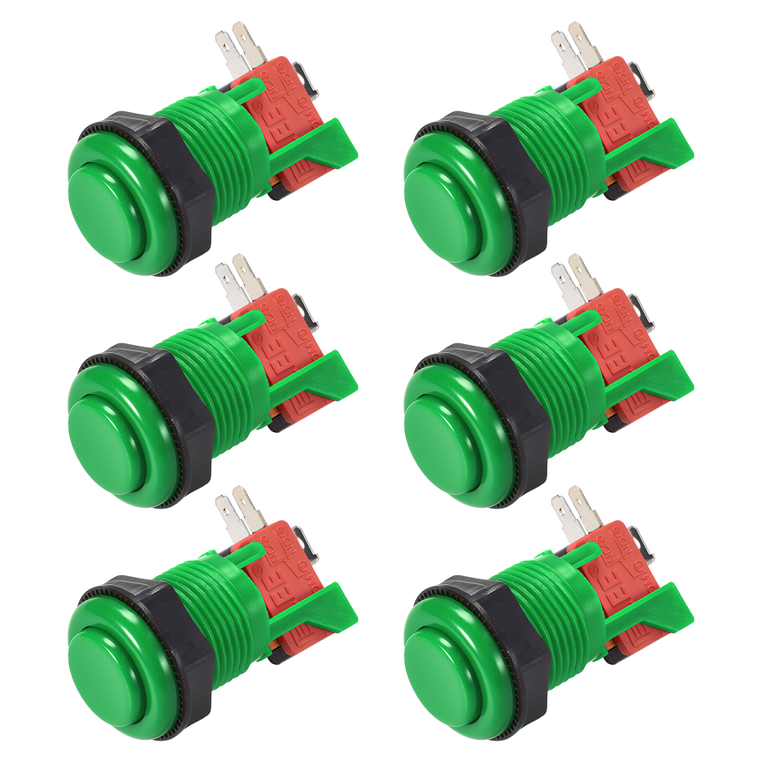 27mm Mounting Momentary Game Push Button Switch with Micro switch Green 6pcs