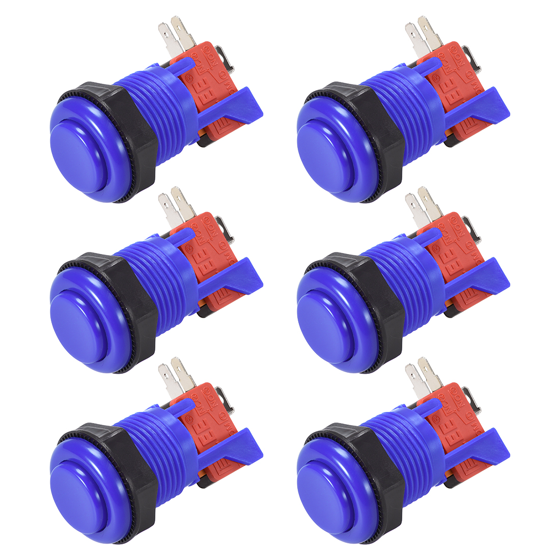 27mm Mounting Momentary Game Push Button Switch with Micro switch Blue 6pcs