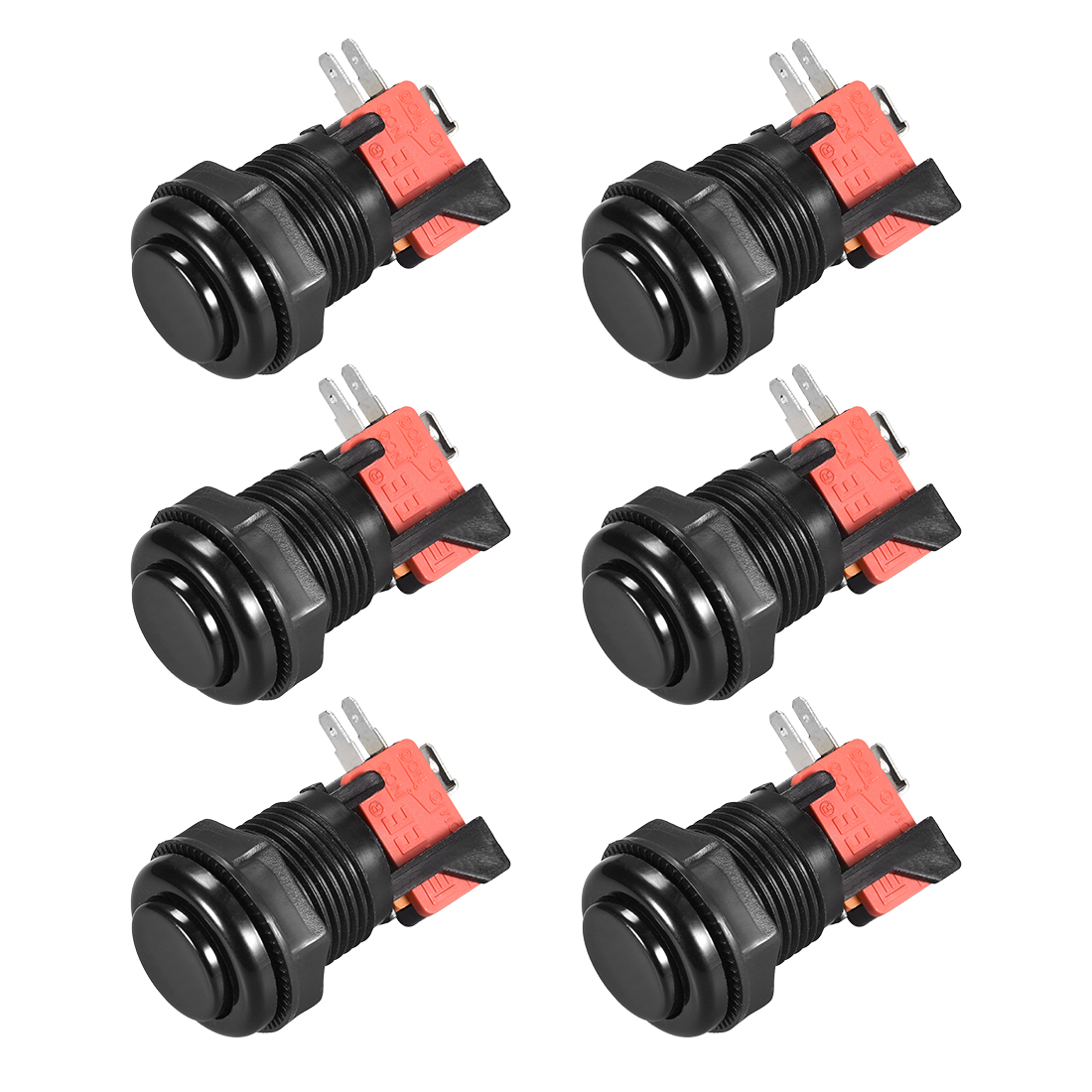 27mm Mounting Momentary Game Push Button Switch with Micro switch Black 6pcs