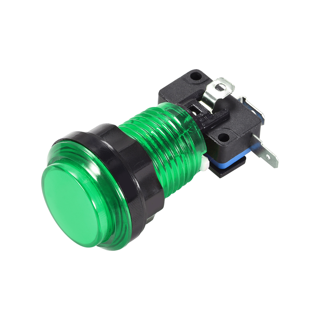 Game Push Button 33.5mm 12V LED Illuminated Switch with Micro switch Green 1pcs