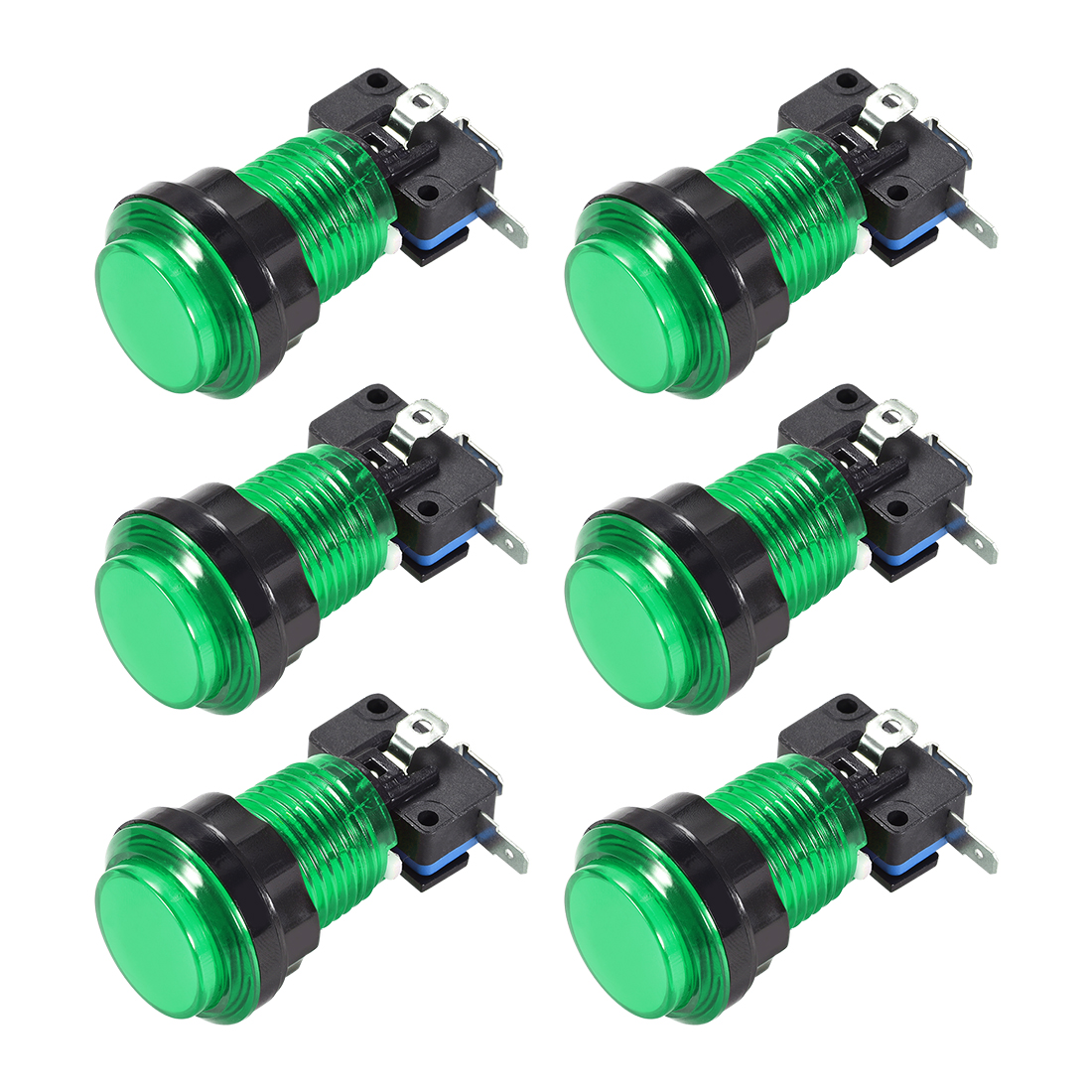 Game Push Button 33.5mm 12V LED Illuminated Switch with Micro switch Green 6pcs