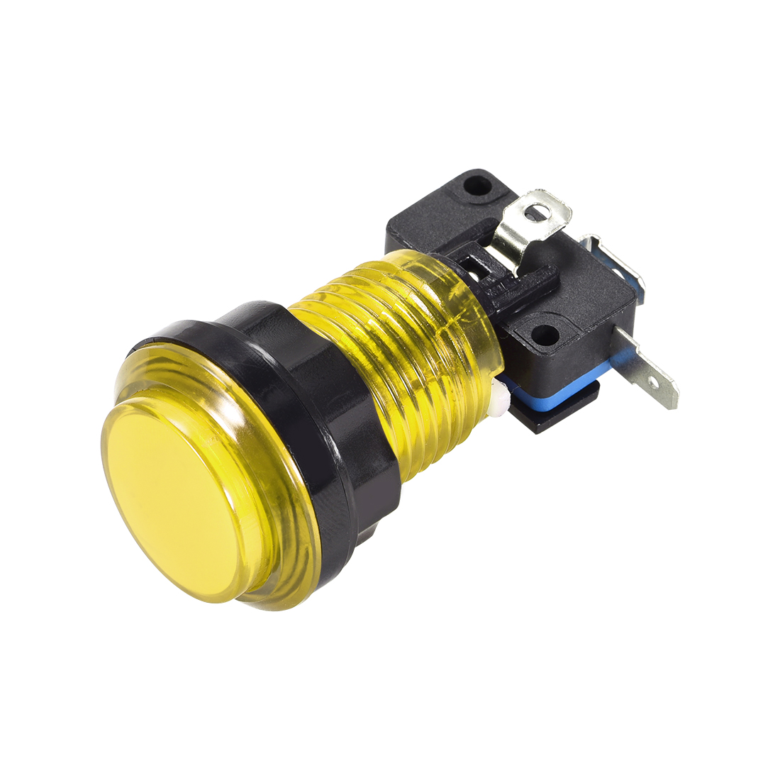 Game Push Button 33.5mm 12V LED Illuminated Switch with Micro switch Yellow 1pcs