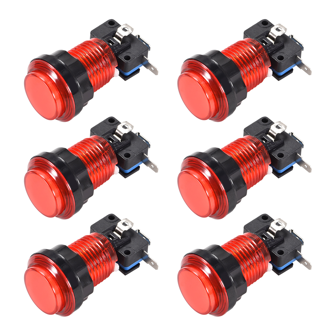 Game Push Button 33.5mm 12V LED Illuminated Switch with Micro switch Red 6pcs