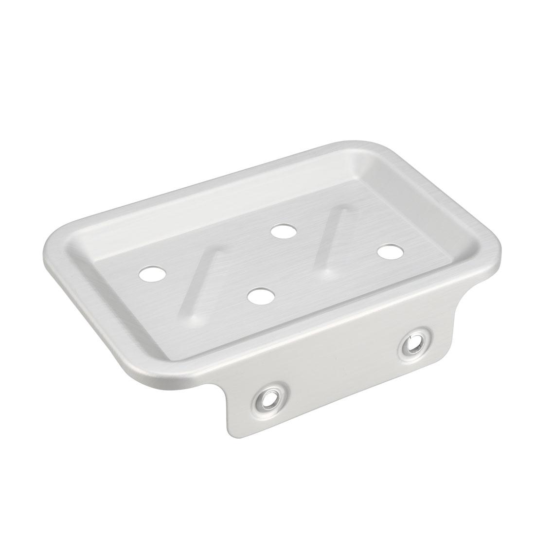 Soap Dish Holder Saver Aluminum Wall Mounted Tray with Installation Kits Silver