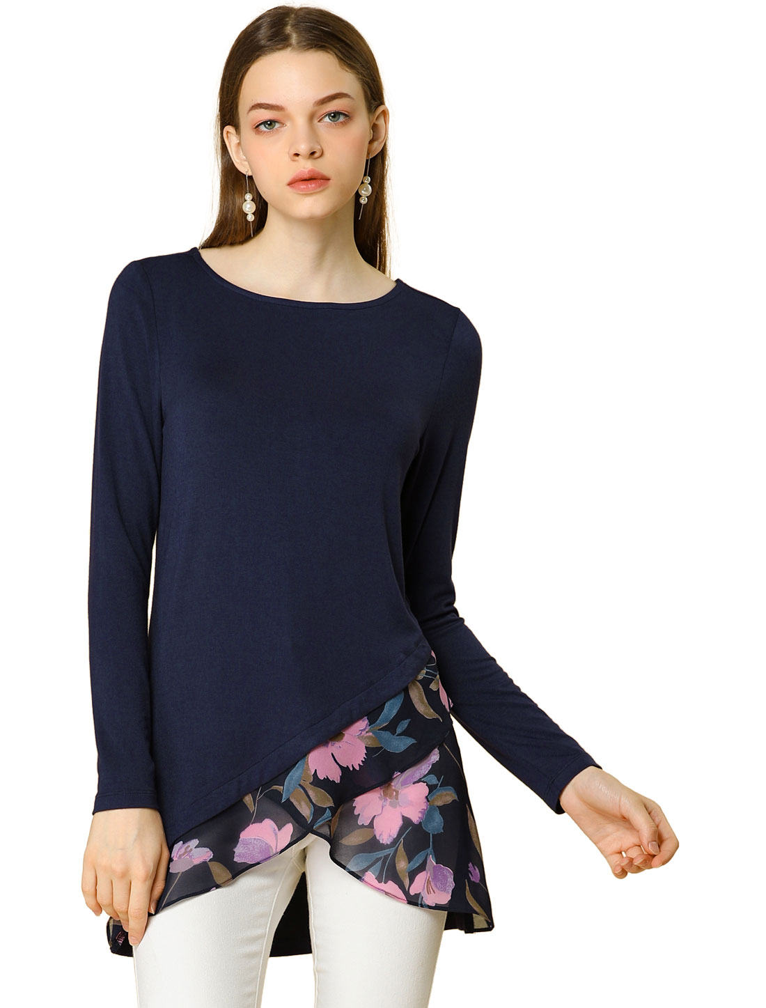 Allegra K Women's Floral Long Sleeve Boat Neck Asymmetrical Hem Top Navy L