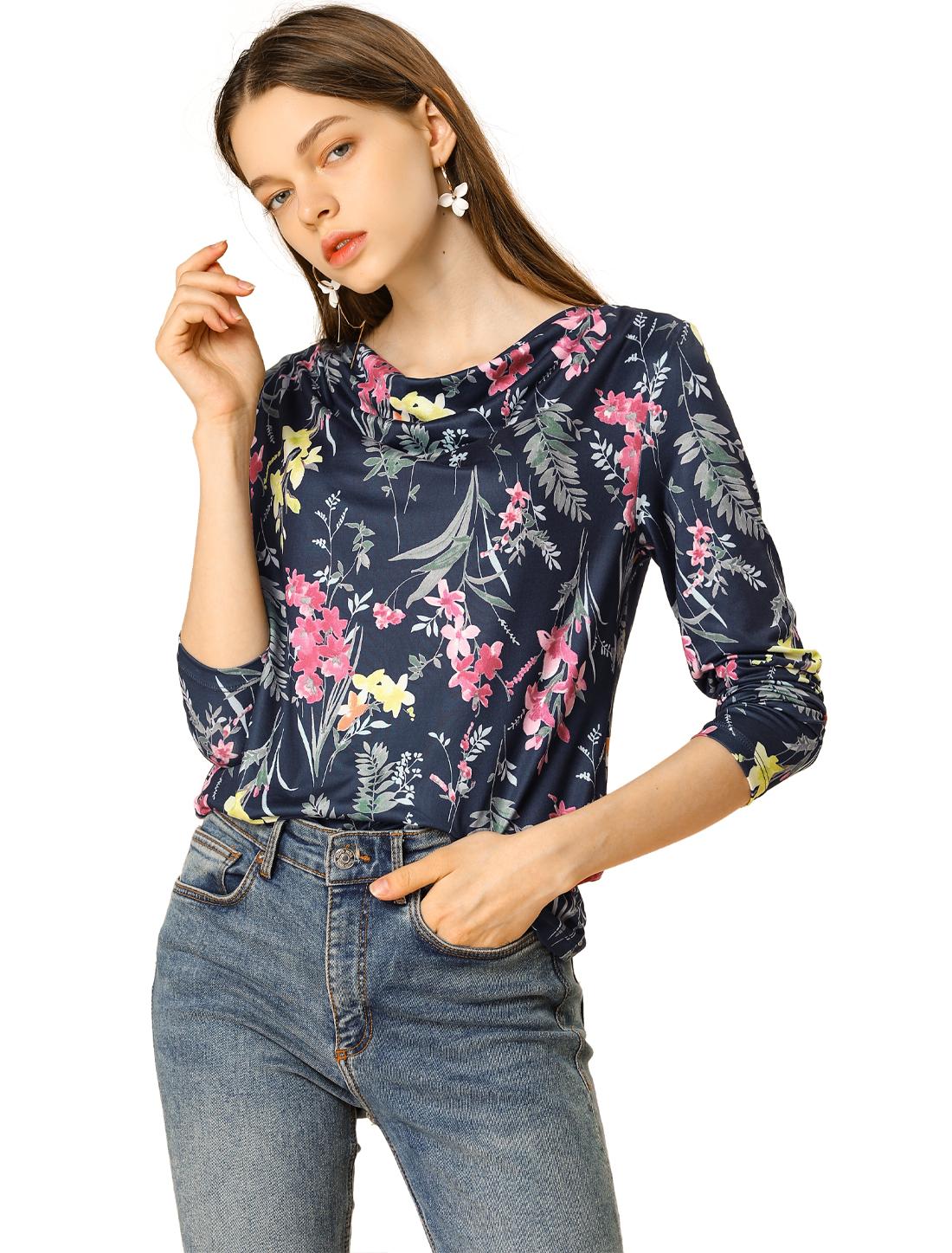 Allegra K Women's Floral Prints Cowl Neck Long Sleeves Top Deep Blue S
