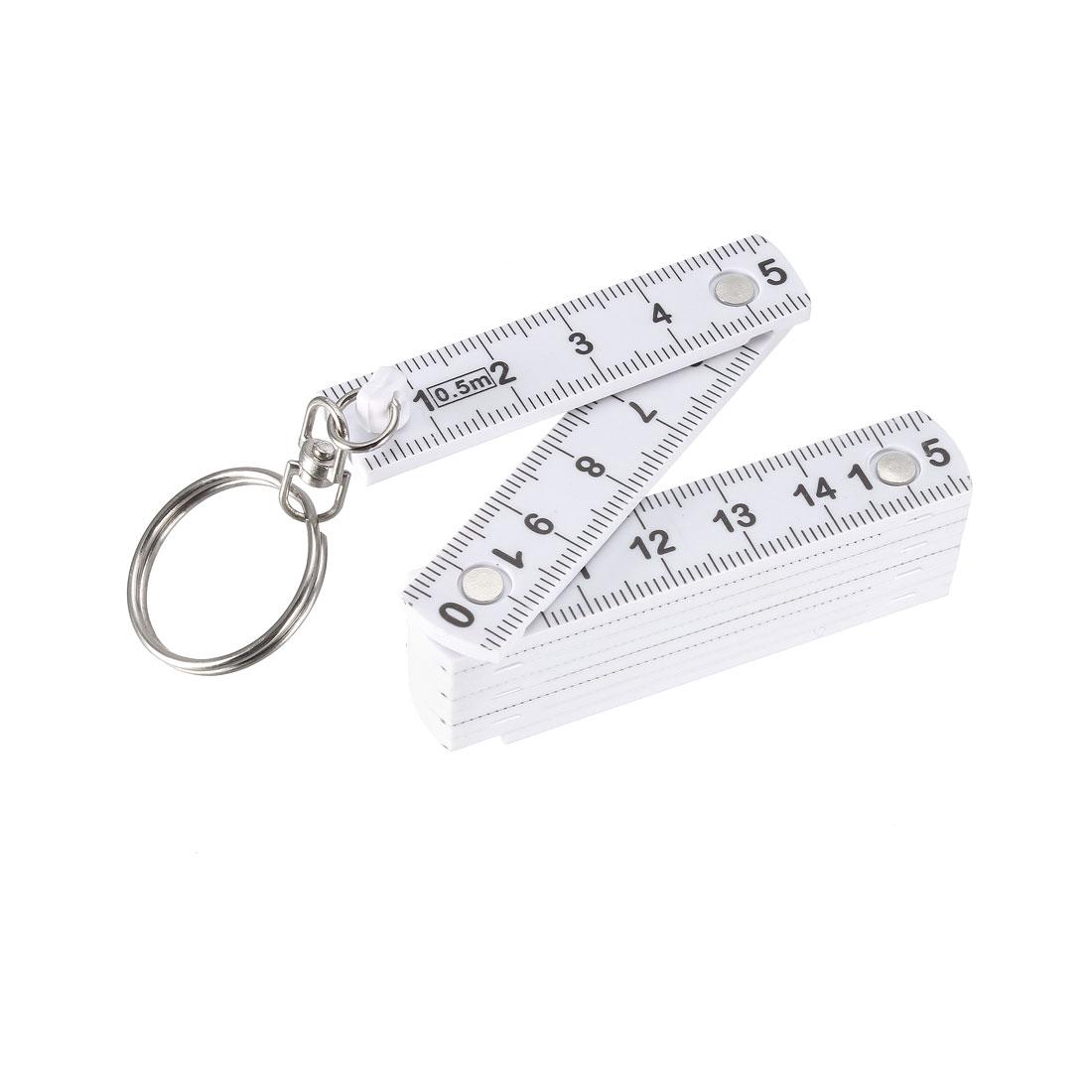 Folding Ruler 50cm 10 Fold Metric Measuring Tool Platic for Engineer White